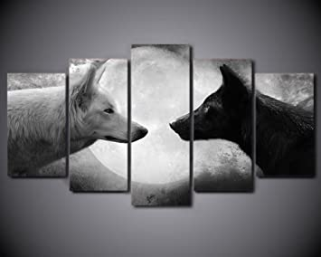 """Wild Animals 3 x Split Panel Canvas Pictures 10x20/"""" Black And White Wolves"""
