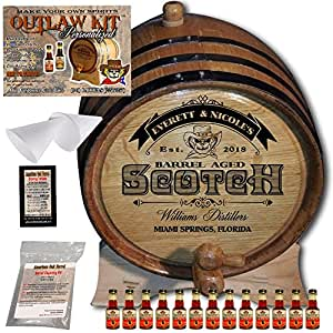 "Personalized Outlaw Kit (Blended Scotch Whiskey) ""MADE BY"" American Oak Barrel - Design 101: Barrel Aged Scotch - 2018 Barrel Aged Series (10 Liter)"