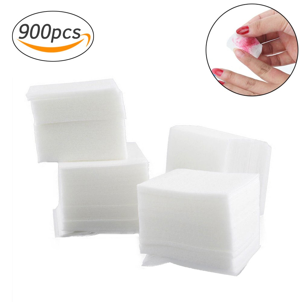 Lint Free Nail Wipes Nail Art Gel Polish Remover Cotton Pads Acrylic UV Gel Tips Cotton Cleaner (900pcs, White) Paul Harden