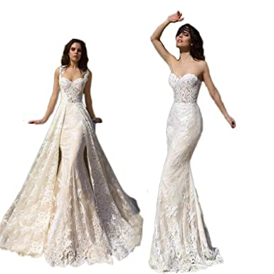 Detachable Wedding Dress.Xjly Women S Sweetheart Detachable Wedding Dresses Lace Mermaid