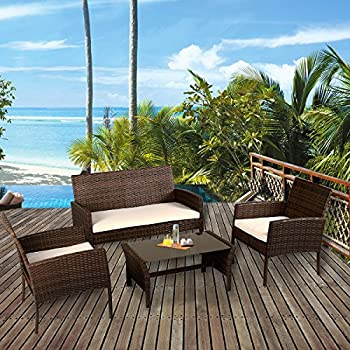 Tangkula 4 Piece Patio Furniture Set All Weather Outdoor Lawn Garden Pool  Balcony Wicker Steel Frame Sofa And Chairs Set With Glass Top Coffee Table  ...