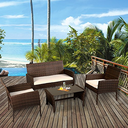 Tangkula 4 Piece Patio Furniture Set All Weather Outdoor Lawn Garden Pool Balcony Wicker Steel Frame Sofa and Chairs Set with Glass Top Coffee Table & Removable Cushions Conversation Set (brown)