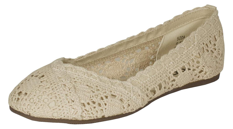 Amazoncom Soda Faddy Crochet Slip On Ballet Flats Beige 6 M Flats