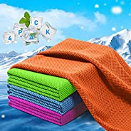 """Cooling Towel,[4 Pack] 40""""x12"""" Instant Cooling Chilly Towels -UPF 50+ Cooling Ice Towels for Sports,"""