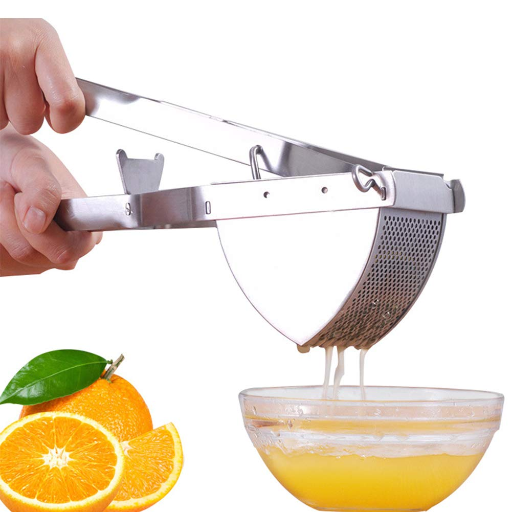 Potato Ricer Stainless Steel Potato Masher Heavy Duty Food Press Strainer Fruit Squeezer for Mashed Potatoes and Puree Fruit Vegetable Maker Squeezing Lemon Fruit Juicer