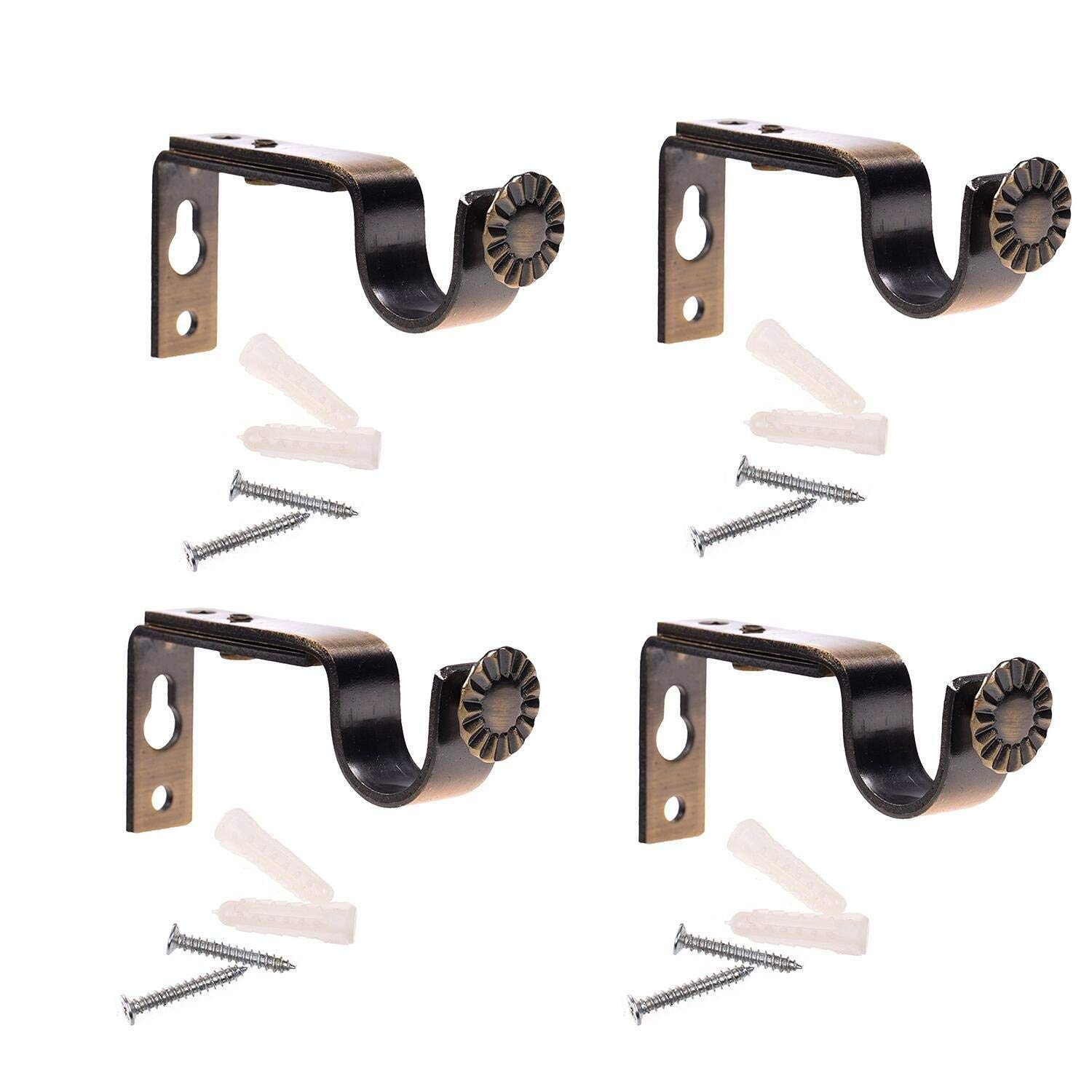 Bujingyun Bronze Color Heavy Duty Curtain Rod Brackets (2pcs)
