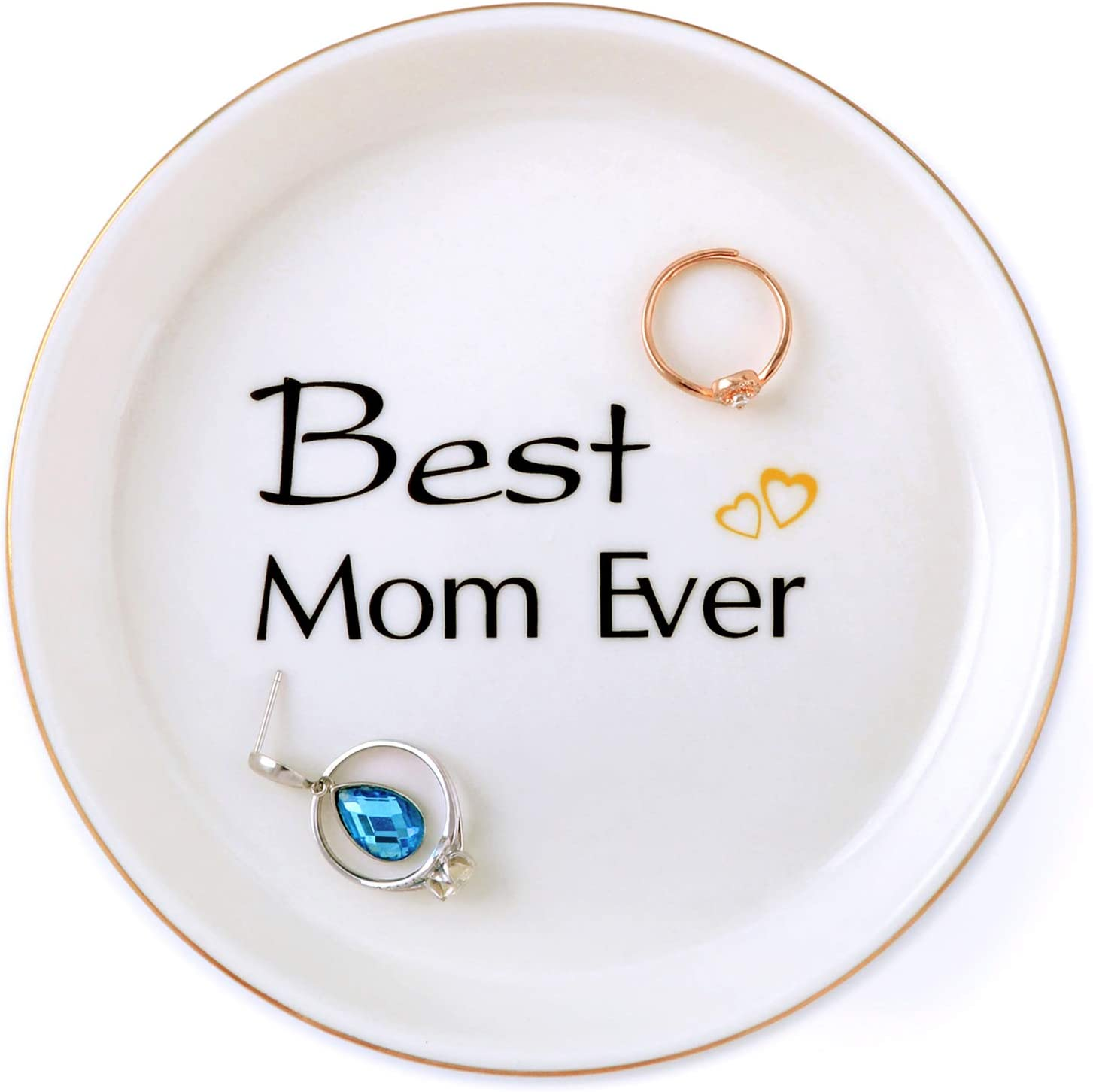 Mom Gifts Birthday Gifts Idea for Mom Mother in Law from Daughter Son Wife Bride, Best Mom Ever Ceramic Jewelry Tray Trinket Ring Dish Home Decor, Thanksgiving Christmas Mother Day Valentine
