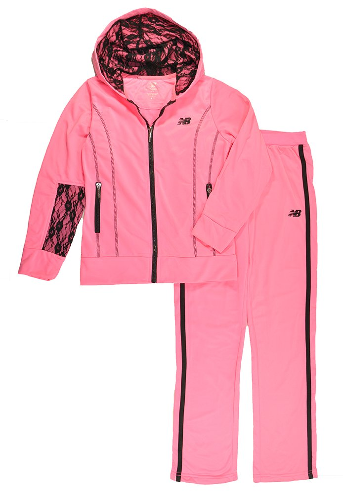 New Balance Big Girls Lace Detailed Hoodie 2pc Track Pant Set product image