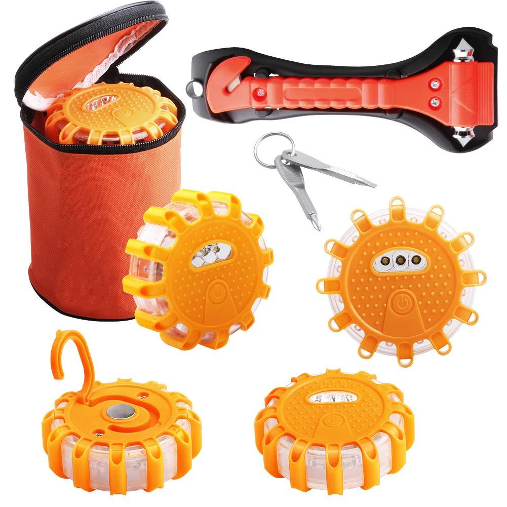 Road Flares Emergency Disc Safety - Roadside Orange Warming Light for Vehicles,Car Emergency Kit Include Carry-Case,Screwdriver Car Emergency Hammer Escape & Seatbelt Cutter