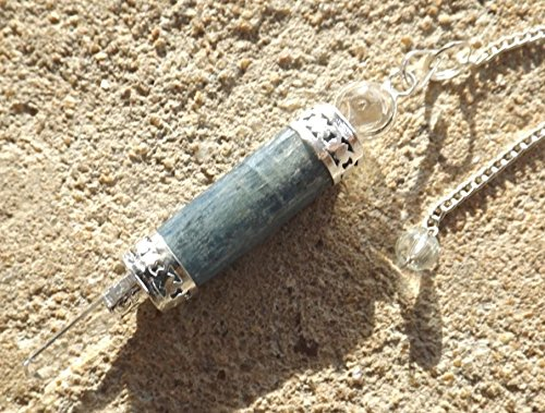 - Kyanite & Quartz Wand Healing Dowsing Pendulum Pendant Throat Chakra Healing
