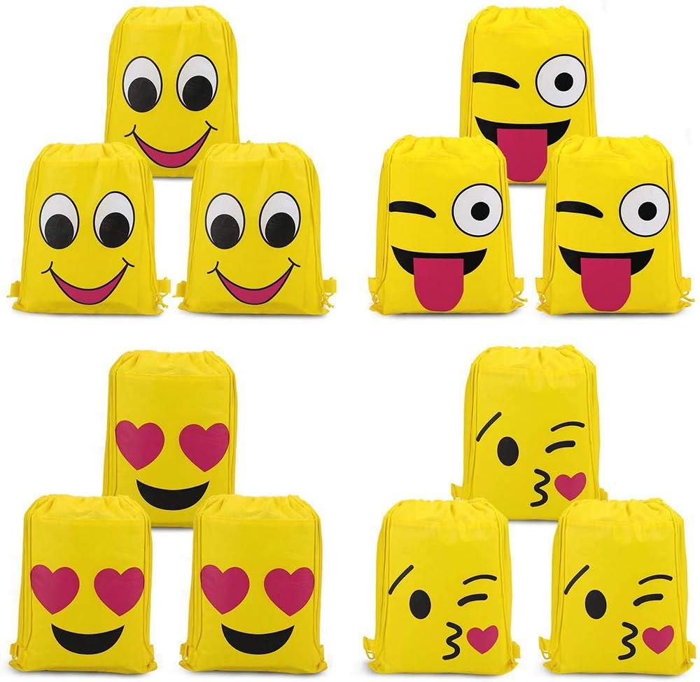 SIMUER Emoji Bolsas de Cuerdas (12Pcs), Emoji Cordón Mochila Bolsas Regalo Cumpleaños Deporte Gimnasio Backpack para Niños Niñas Fiesta de Cumpleaños Favores Decoraciones