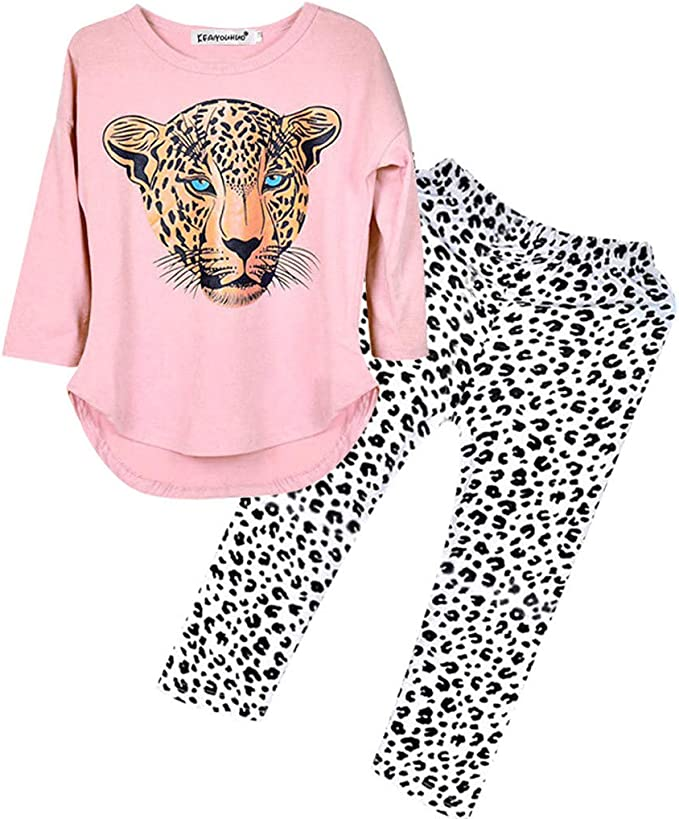 Leopard Hosen Outfits 2 St/ück Herbst Winter Warm Stilvoll Niedlich 2-12 Jahre 2pcs Baby Kinder M/ädchen Langarm Tiger Drucken Top WEXCV Kleinkind Kleidung Set