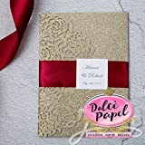 25 Gorgeous Gold Glitter Laser Cut Wrap Intricate Lace Pocket Elegant Invitations Set