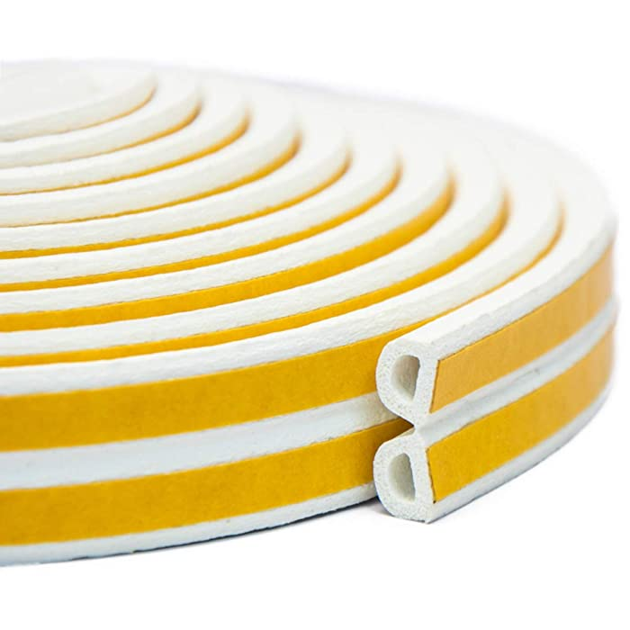 Keeping Fun Indoor Weather Stripping,Self Adhesive Foam Window Seal Strip for Doors and Windows Soundproofing Weatherstrip Gap Blocker,7/20-Inch x 6/25-Inch x 8-Feet,White (2 Seals)