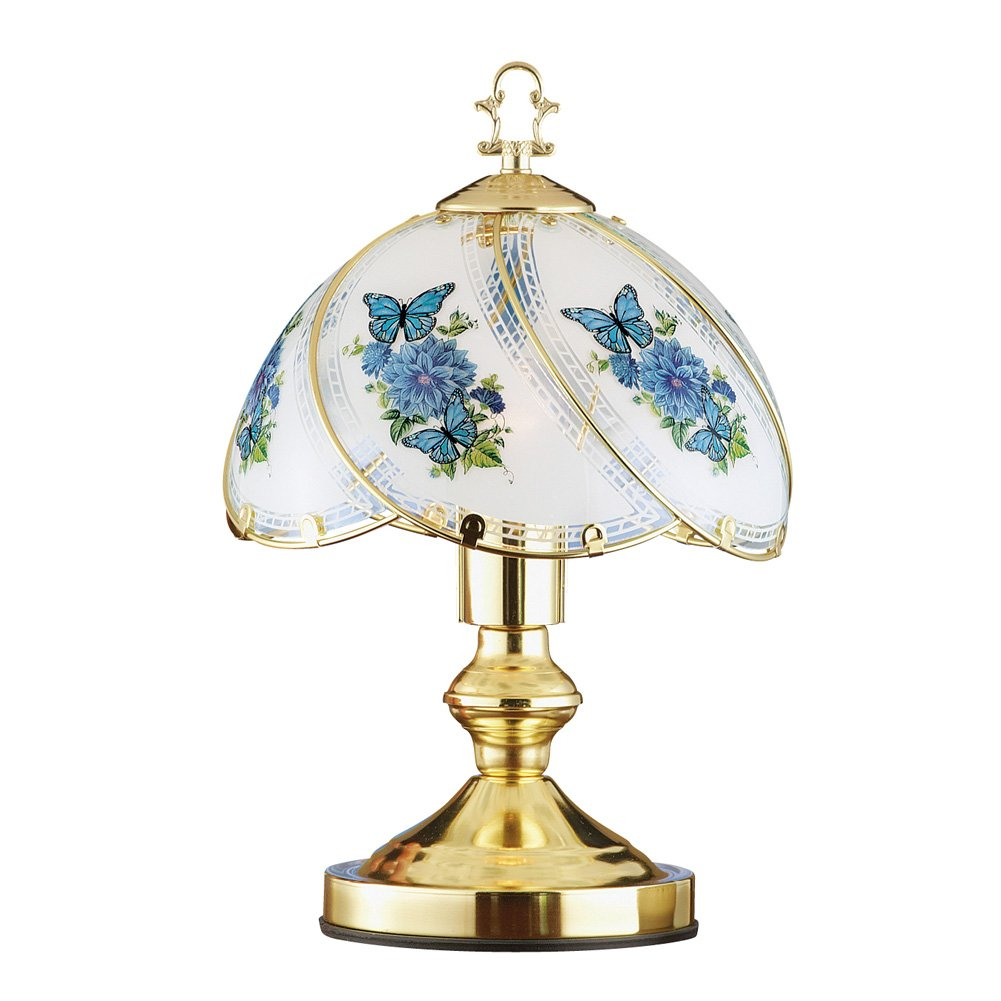 Collections Etc Blue Butterfly Décor Glass Shade 3-Way Touch Lamp