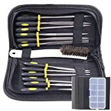 Glarks 12pcs Mini Assorted Wood Rasp Set include Brush and Storage Box with 4pcs Sandpaper for Fixing Jewelers Diamond Wood Carving Craft