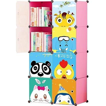 promo code e41f7 6587d KOUSI Portable Kids Bookshelf Children Toy Organizer Multifuncation Cube  Storage Shelf Cabinet Bookcase, Capacious & Study, Pink:8 Cubes