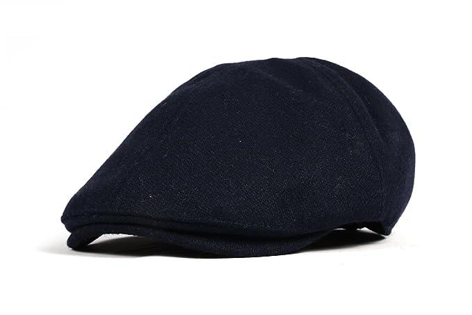 WITHMOONS Sombreros Gorras Boinas Bombines Wool Newsboy Hat Flat Cap SL3021 (Navy)
