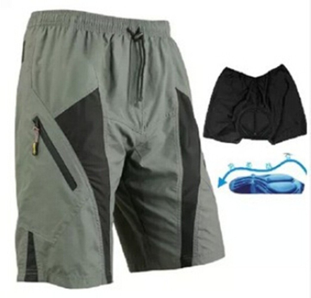 Outdoor Manager CA-Men Cycling MTB Bike Shorts Loose-fit Liner CoolMax Padded Short