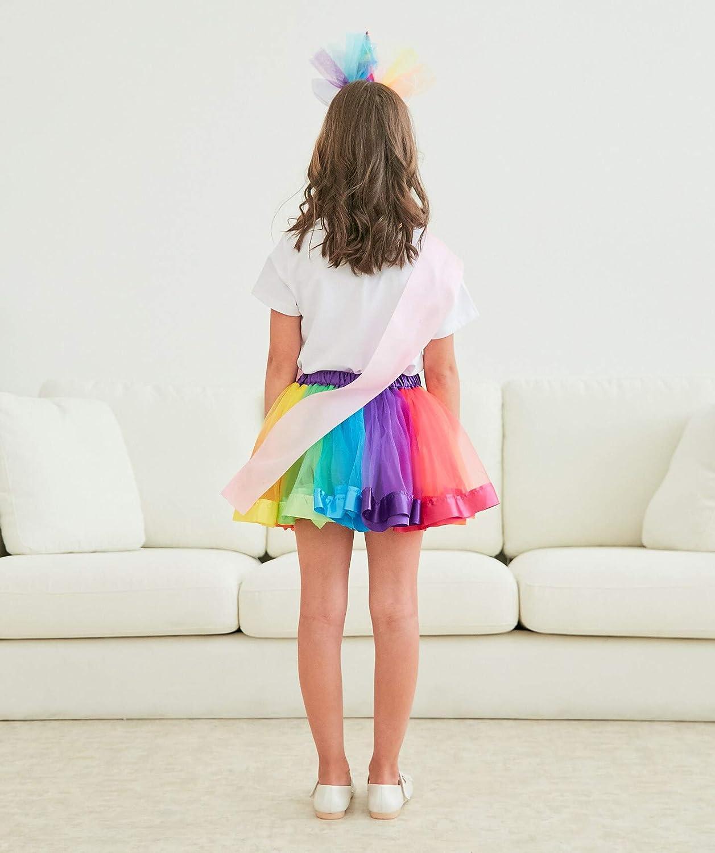 Headband /& Satin Sash Doctor Unicorn Girls Costume Rainbow Tutu Skirt with Birthday Tshirt