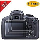 KIMILAR Pellicola Protettiva per Canon EOS 1300D 1200D T6 T5 Kiss X70 X80, (3 Pezzi) 9H Ultra-trasparente Proteggi Schermo in Vetro Temperato per Canon DSLR (1300D 1200D)