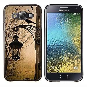 Lámpara primavera caída del otoño Cuervo Calle- Metal de aluminio y de plástico duro Caja del teléfono - Negro - Samsung Galaxy E5 / SM-E500