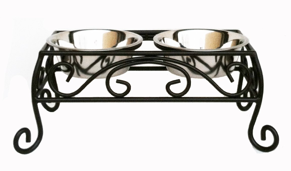 Noblesse Double Diner - Raised Feeder for Dogs - Med Size 7'' Tall - Wrought Iron Pet Feeding Station by NMN Products
