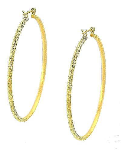 6a5088c95c91a Amazon.com: Hoop Earrings14k Gold Plated Ex- Large 78mm Drop 3mm ...