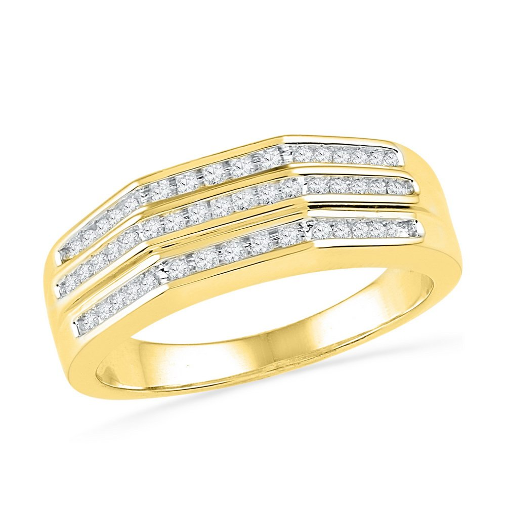 Womens Diamond Band Solid 10k Yellow Gold Anniversary Band Round Three Row Flat Top Style Fancy 1/4 ctw