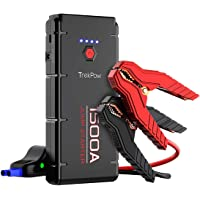 TrekPow 1500A Peak Car Jump Starter Upgraded Portable Battery Booster with Smart Battery Clamps, QC3.0, Type-C Input&Output, LED Flashlight, for Engines up to 8.0L Gas and 6.5L Diesel