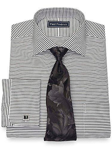 Paul Fredrick Men's Cotton Horizontal Stripe Dress Shirt Black / White 16.5/33 Stripe Spread Collar French Cuff