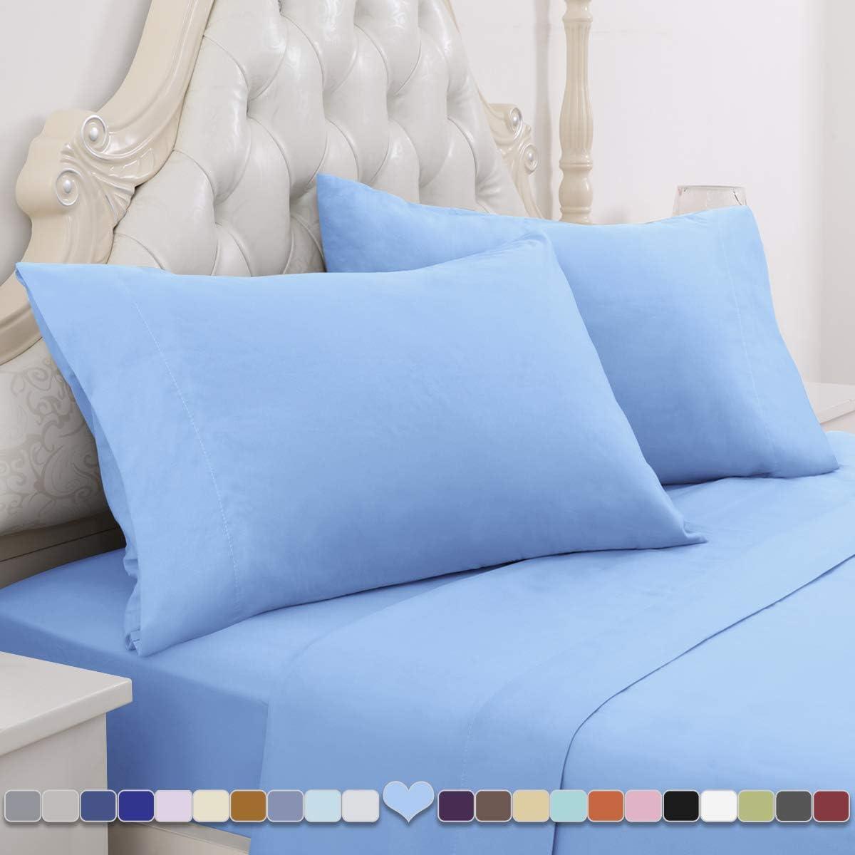 HOMEIDEAS 4 Piece Bed Sheet Set (Full, Sky Blue) 100% Brushed Microfiber 1800 Bedding Sheets - Deep Pockets