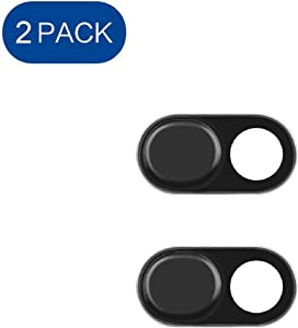 Webcam Cover, ELifeApply Ultra-ThinLaptop Camera Cover Slide Blocker, Camera Security Cover Webcam Shield for Laptop, Desktop, Smartphone, iPhone, PC, Protecting Your Privacy Security - 2 Pack Black