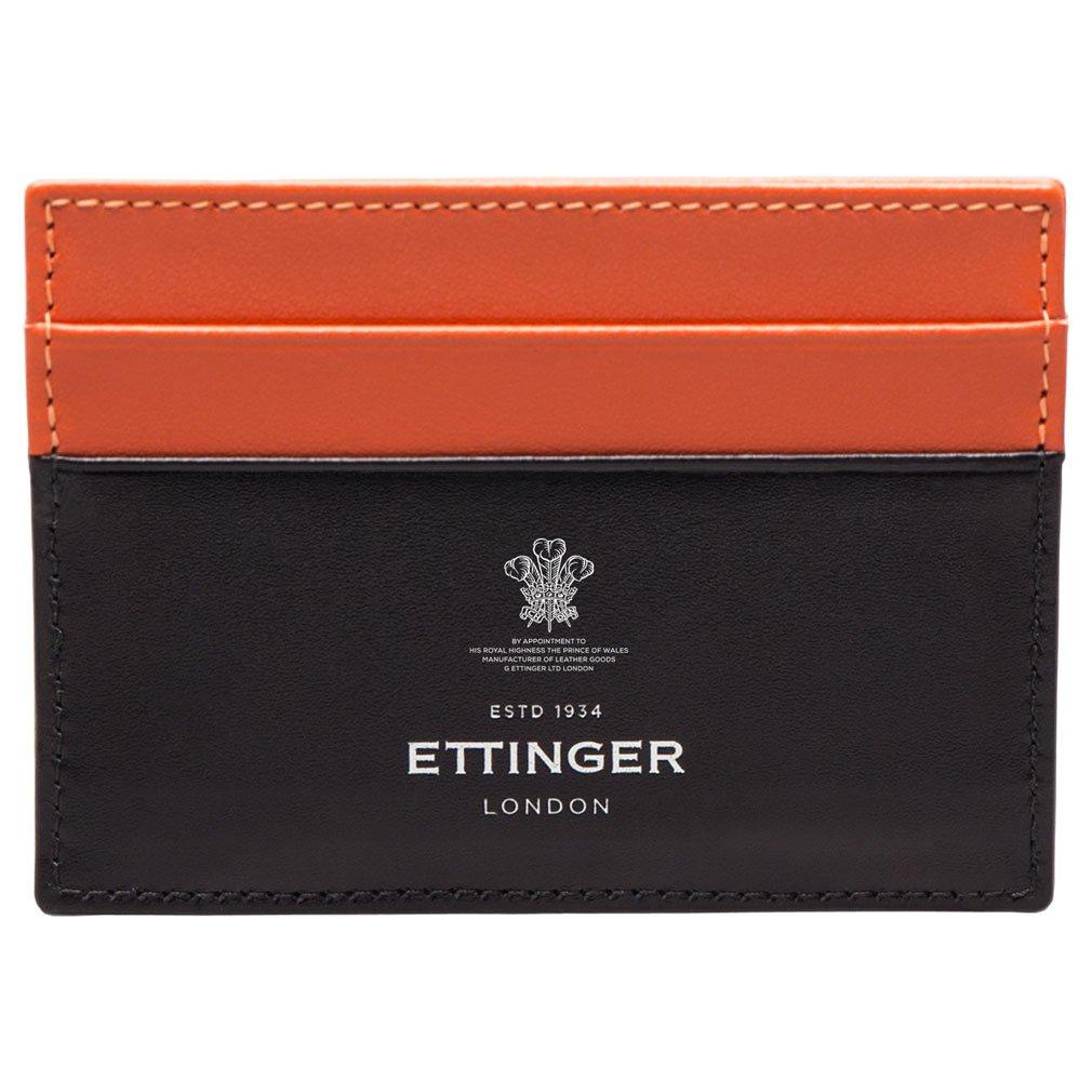 Ettinger Mens Orange and Black Sterling Flat Credit Card Case