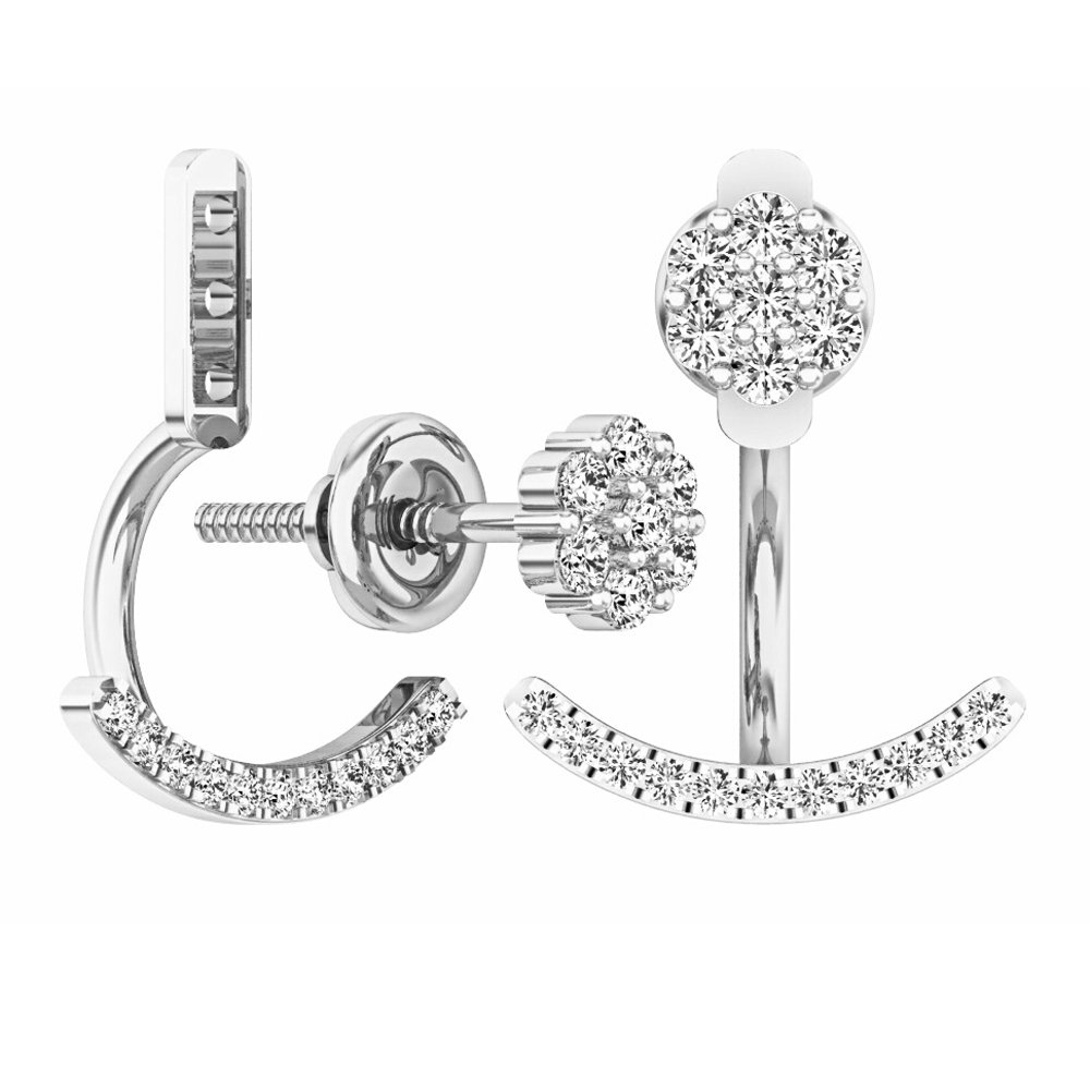 0.25 Carat (ctw) Sterling Silver Round White Diamond Stud Earring Jackets 1/4 CT