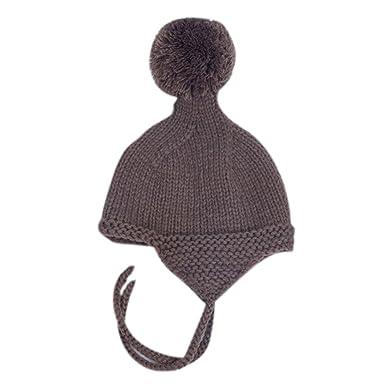 2876841ff05a Chapeau Bébé Longra Fille Garçon Laçage Un bonnet à pompons Tricoté Bonnet  de laine Earflaps Hiver