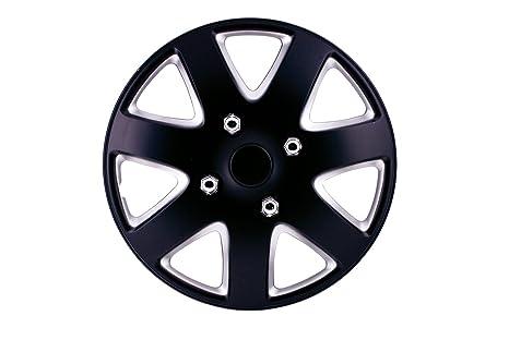 SUMEX 50 - Juego Tapacubos, Silverstone, Color Negro - Plata, 4 Unidades