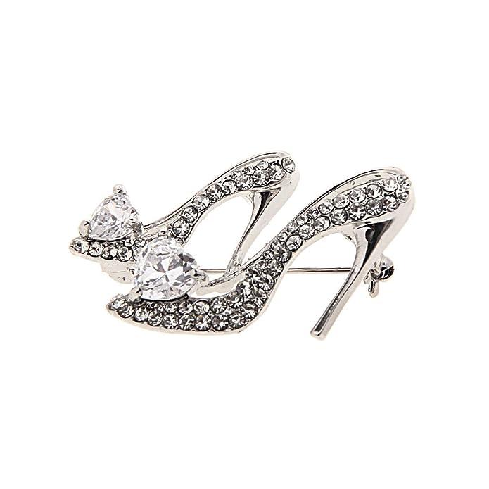 Broche Pin de Mujer Damas Forma de Zapatos de Tacón Alto Cristal Diamante de Imitación - 3 rodVusb