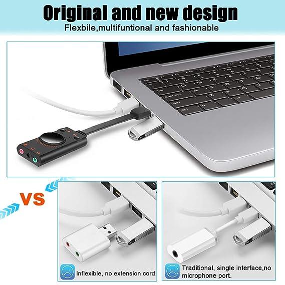 Amazon.com: Adaptador de tarjeta de sonido USB, adaptador de ...