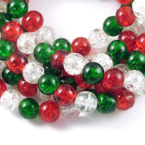 - Glass Crackle Bead Christmas Set-Red, Green & Clear Mix 8mm (150 Pcs)