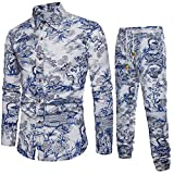 Casual Men's Leisure Suit Premium Suit Spring Tracksuits Slim Fit Long Sleeve Print Shirt Blouse Shirt+Joggers Blue