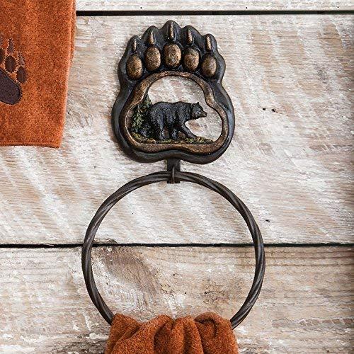 Black Forest Décor Bear Paw Rustic Towel Ring - Wilderness Bath Accessory ()