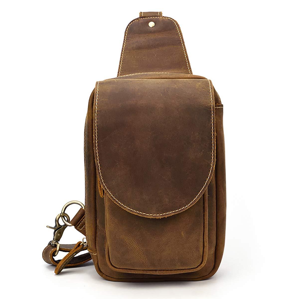 Dark Brown Bolso de la honda del pecho del bolso de la honda del bolso de la honda de Crossbody del bolso de la honda del bolso de la honda del bolso de la honda del cuero genuino de los hombres