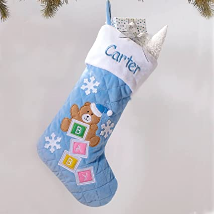 personalized quilted baby bear christmas stocking blue - Quilted Christmas Stockings