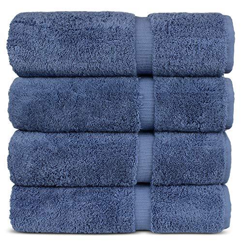 "Luxury Hotel & Spa 100% Cotton Premium Turkish Bath Towels, 27″ x 54"" (Set of 4, Wedgewood)"