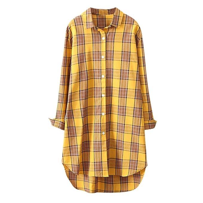 Camisa a Cuadros de sección Larga Chaqueta Delgada Femenina ...