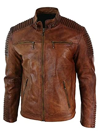 b12aaa59c Mens Biker Vintage Motorcycle Cafe Racer Brown Distressed Leather Jacket-  Stylish Moto Racers Jacket