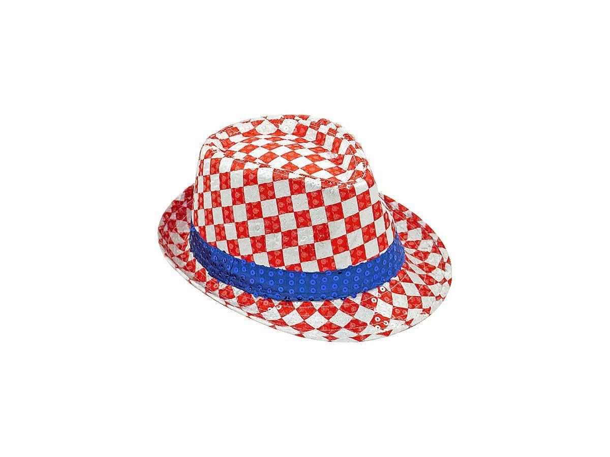 Cappello fedora borsalino con paillette colori di bandiera Croazia (TH-72) per tifosi calcio accesso...