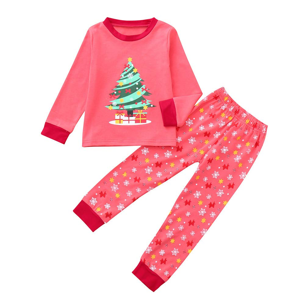 Muium Toddler Infant Baby Christmas Tops Pants Pajamas Outfits Set Kids Girls Warm Winter Clothes for 1-7 Years Old