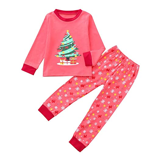 21f70196b99bf Amazon.com: KONFA Teen Toddler Baby Boys Girls Christmas Clothes, Tree  T-Shirt+Snowflakes Pants 2Pcs Home Outfits Sets, for 1-7 Years: Clothing